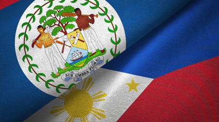 Belize and Philippines two folded flags together Stock Photo