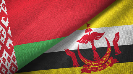 Belarus and Brunei Darussalam flags together textile cloth, fabric texture. Text on brunei flag means - Always in service with God's guidance