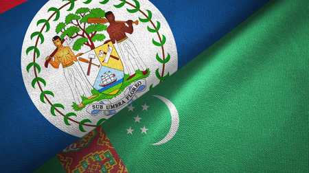Belize and Turkmenistan two flags textile cloth, fabric texture Stock Photo