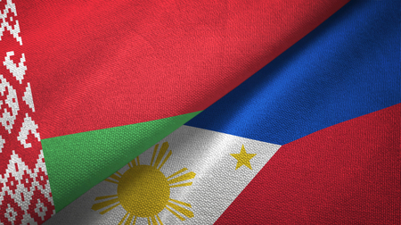 Belarus and Philippines two flags textile cloth, fabric texture