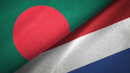 Bangladesh and Netherlands two flags textile cloth, fabric texture Foto de archivo