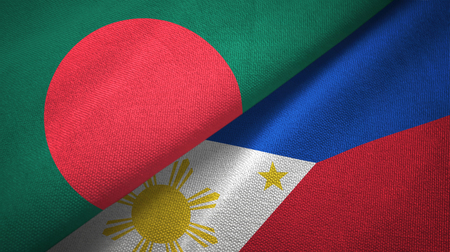 Bangladesh and Philippines two flags textile cloth, fabric texture