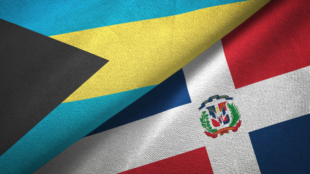 Bahamas and Dominican Republic two flags textile cloth, fabric texture