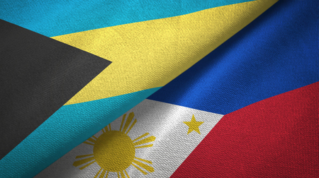 Bahamas and Philippines two flags textile cloth, fabric texture