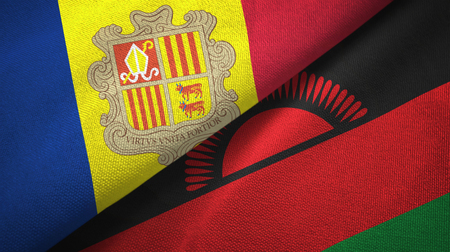 Andorra and Malawi two flags textile cloth, fabric texture Imagens