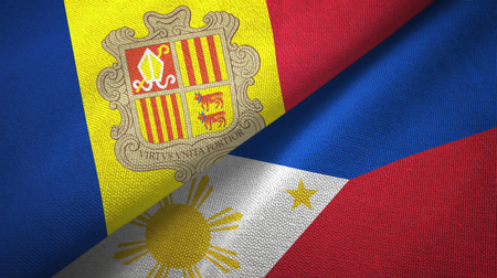 Andorra and Philippines two flags textile cloth, fabric texture