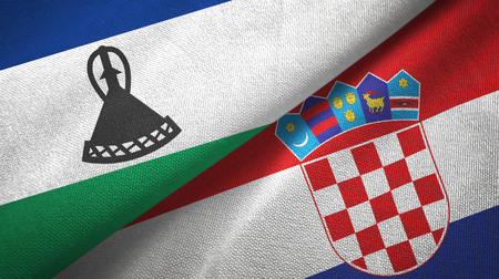 Lesotho and Croatia two flags textile cloth, fabric texture