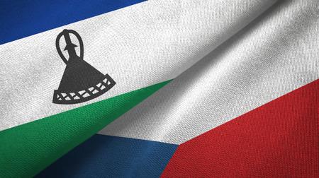 Lesotho and Czech Republic two flags textile cloth, fabric texture Reklamní fotografie