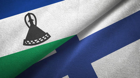 Lesotho and Finland two flags textile cloth, fabric texture