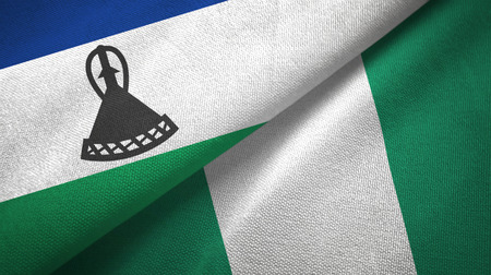 Lesotho and Nigeria two flags textile cloth, fabric texture