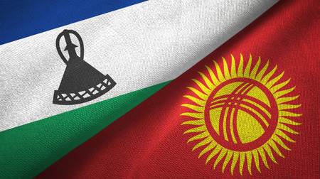 Lesotho and Kyrgyzstan two flags textile cloth, fabric texture