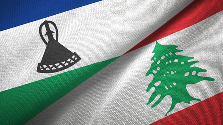 Lesotho and Lebanon flags together textile cloth, fabric texture