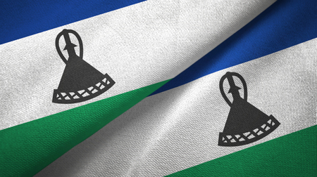 Lesotho two folded flags together