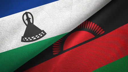 Lesotho and Malawi flags together textile cloth, fabric texture