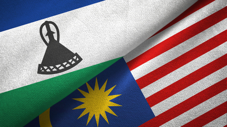 Lesotho and Malaysia flags together textile cloth, fabric texture