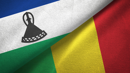 Lesotho and Mali two folded flags together Stock Photo