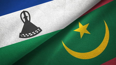 Lesotho and Mauritania two folded flags together