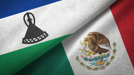 Lesotho and Mexico flags together textile cloth, fabric texture