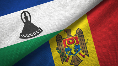 Lesotho and Moldova flags together textile cloth, fabric texture