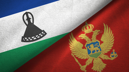 Lesotho and Montenegro flags together textile cloth, fabric texture