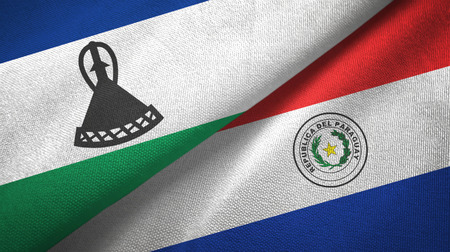 Lesotho and Paraguay two flags textile cloth, fabric texture