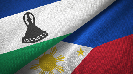 Lesotho and Philippines two flags textile cloth, fabric texture