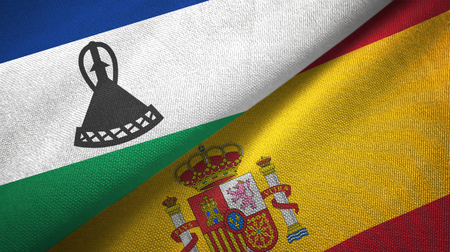 Lesotho and Spain two flags textile cloth, fabric texture