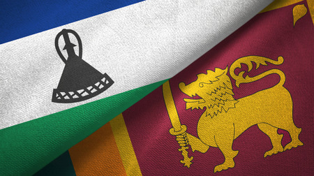 Lesotho and Sri Lanka two flags textile cloth, fabric texture