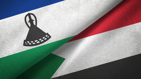 Lesotho and Sudan two flags textile cloth, fabric texture