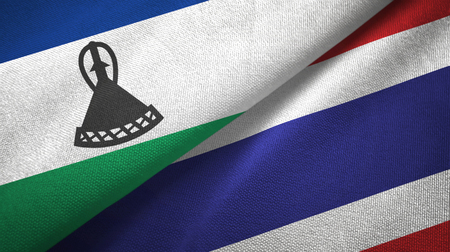 Lesotho and Thailand two flags textile cloth, fabric texture