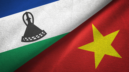 Lesotho and Vietnam two flags textile cloth, fabric texture