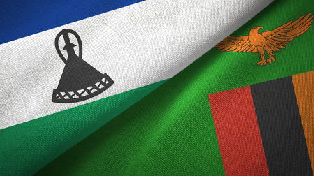 Lesotho and Zambia two flags textile cloth, fabric texture