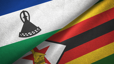 Lesotho and Zimbabwe two flags textile cloth, fabric texture