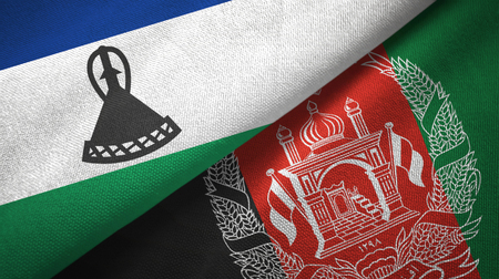 Lesotho and Afghanistan two flags textile cloth, fabric texture