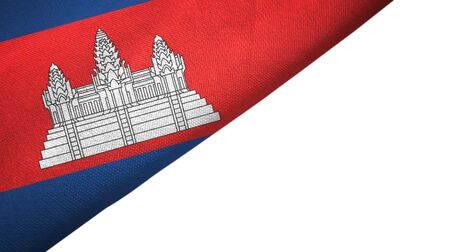 Cambodia flag isolated on white background placed on the left side with blank copy space