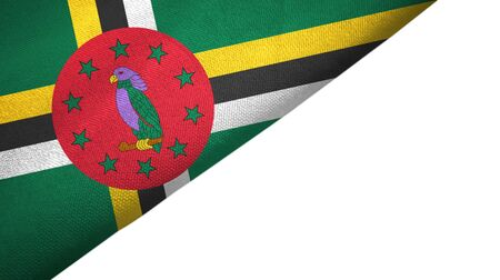 Dominica flag isolated on white background placed on the left side with blank copy space 版權商用圖片