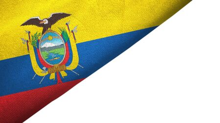 Ecuador flag isolated on white background placed on the left side with blank copy space Banco de Imagens