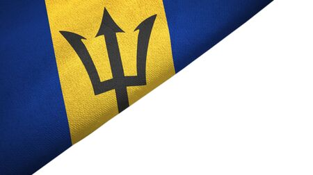 Barbados flag isolated on white background placed on the left side with blank copy space