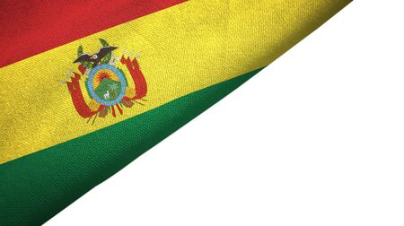 Bolivia flag isolated on white background placed on the left side with blank copy space
