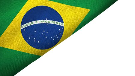 Brazil flag isolated on white background placed on the left side with blank copy space