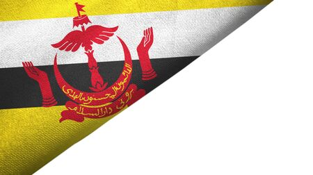 Brunei Darussalam flag isolated on white background placed on the left side with blank copy space. Text on brunei flag means - Always in service with Gods guidance