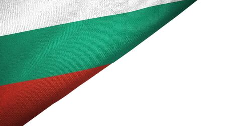 Bulgaria flag isolated on white background placed on the left side with blank copy space