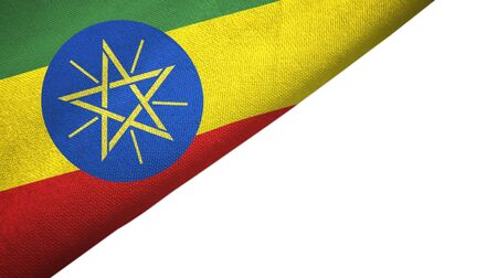 Ethiopia flag isolated on white background placed on the left side with blank copy space