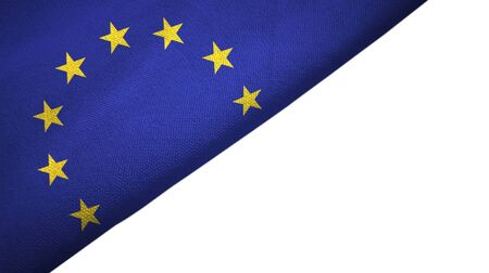 European Union flag isolated on white background placed on the left side with blank copy space