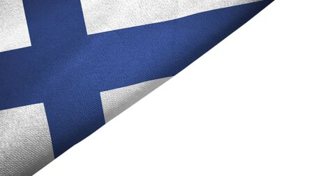 Finland flag isolated on white background placed on the left side with blank copy space 写真素材