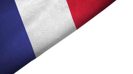 France flag isolated on white background placed on the left side with blank copy space