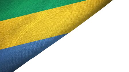 Gabon flag isolated on white background placed on the left side with blank copy space