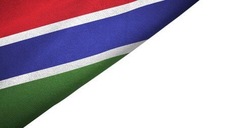 Gambia flag isolated on white background placed on the left side with blank copy space