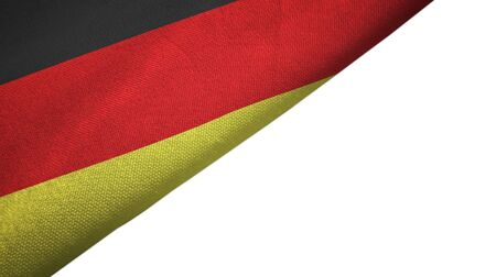Germany flag isolated on white background placed on the left side with blank copy space