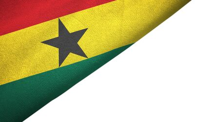 Ghana flag isolated on white background placed on the left side with blank copy space 写真素材